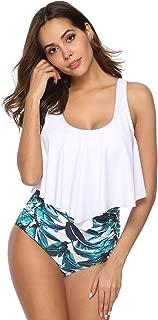 Siren's Deal High Wasted Bathing Suits Women Two Piece Bikini Set Flounce Ruffled Swimsuit Racerback Tummy Control Swimwear