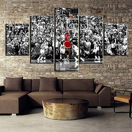 Impresiones En Lienzo 5 Piezas Michael Jordan, estrella del baloncesto NBA Cuadro En Lienzo 5 Piezas Material Tejido No Tejido Impresión Artística Imagen Decor Pared Regalo De Cumpleaños