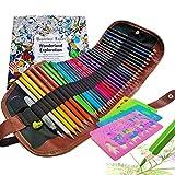 Juego de lápices de colores con bolsa enrollable, 4 plantillas, 1 pincel de agua, 2 sacapuntas y libro para dibujar graffiti, mandala y reducción del estrés, regalo para artistas y niños, 45 unidades