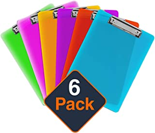 Plastic Clipboards (Set of 6) Multi Pack Clipboard (Colored Assorted) Strong 12.5 x 9 Inch   Holds 100 Sheets! Acrylic Clipboards with Low Profile Clip   Cute Clip Boards Board Clips