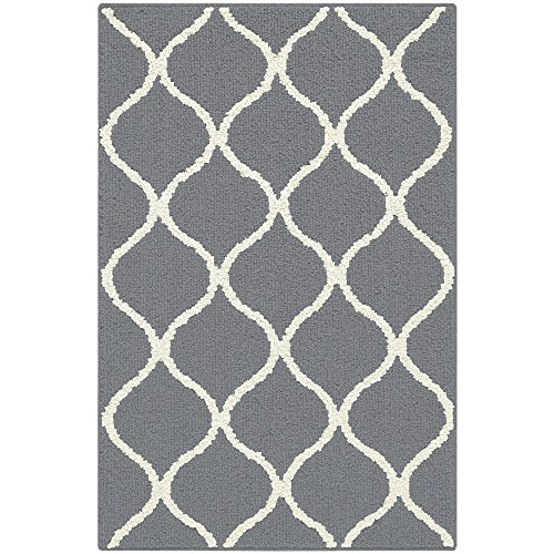 Maples Rugs Rebecca Contemporary Kitchen Rugs Non Skid Accent Area Carpet [Made in USA], 2'6 x 3'10, Grey/White