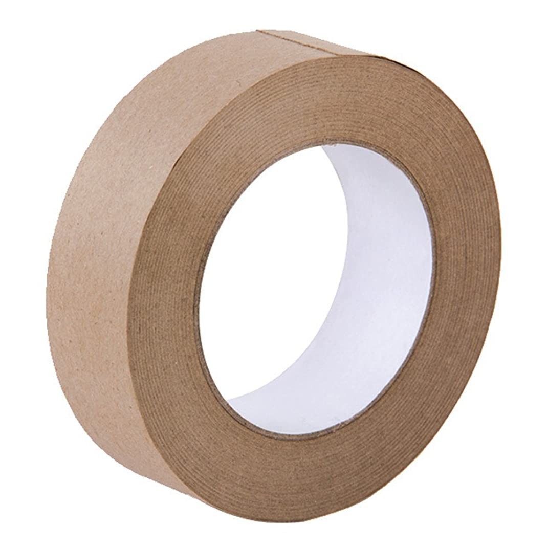 Looneng Water Activated Gummed Kraft Paper Tape - 36mm Width x 54.7 yd Length - Stretching Paper, Tamper Evident