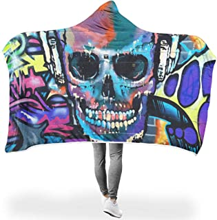 MC83 Bat Blanket Graffiti Skull Head Patterns Printing Microfiber Wear Blanket - Graffiti Big Suitable for Teenagers Use White #6040#