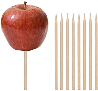 HANSGO Wooden Candy Apple Skewer Sticks, 100 PCS 5.25 x 0.25 inch Birch Wooden Cotton Candy Stick Rock Candy Stick Skewer Semi Pointed Lollipop Sticks