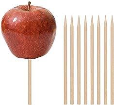 """Wooden Candy Apple Skewer Sticks, 100 PCS Birch Wooden Cotton Candy Stick Rock Candy Stick Skewer Semi Pointed Lollipop Sticks 5.25"""" x 0.25"""" by HansGo"""