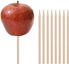 Wooden Candy Apple Skewer Sticks, 100 PCS Birch Wooden Cotton Candy Stick Rock Candy Stick Skewer Semi Pointed Lollipop Sticks 5.25