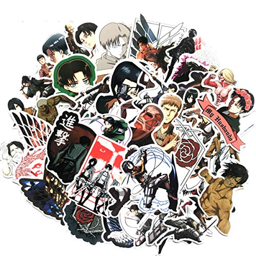 42PCS Attack on Titan Vinyl Decals, Clear Stickers No-Duplicate Waterproof Vinyl Stickers for Skateboard Luggage Helmet Guitar (Attack on Titan) MINRAIN