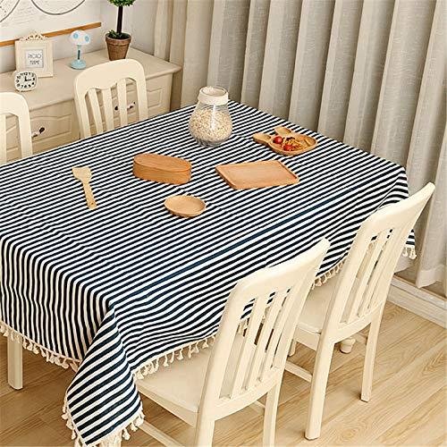 Color Puro Impresión De Rayas Azules Rectángulo Hogar Hotel Algodón Y Lino Mantel Mantel Mantel De Té Mantel 140x200cm