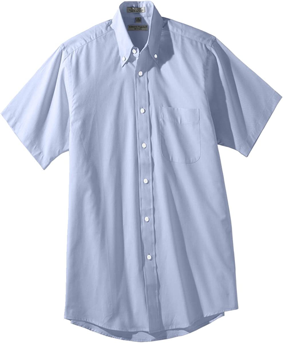 Edwards Men's Short Sleeve Pinpoint Oxford Shirt, BLUE, 5XLarge
