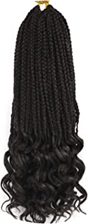 14 18 24 Inch Crochet Hair Box Braids Curly Ends Ombre Synthetic Hair for Braid 22 Strands Braiding Hair Extensions,#2,24inches 10Packs
