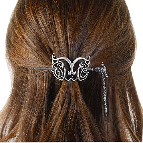 Viking Celtic Hair Clips Hairpin-Viking Hair Sticks Ladies Hair Accessories Clips for Long Hair Slide Pin Irish Antique Silver Hairstick Celtic Knot Viking Jewelry Hair Clip Men Gift (No.C1)