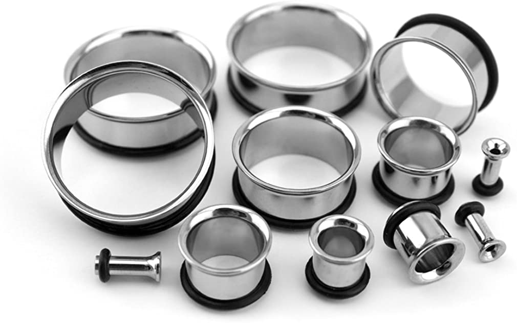 Urban Body Jewelry Pair of 8 Gauge (8G - 3mm) Titanium Single Flare Tunnel Plugs
