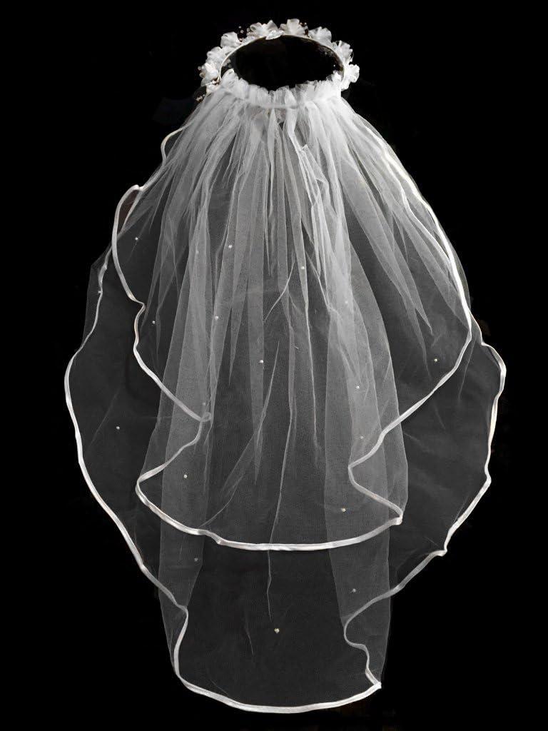Girls 1st Communion Wedding White Veil 2 Layers Tulle Headpiece 25