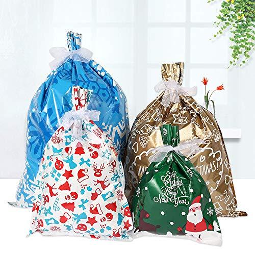 30 Stück Geschenktüten Weihnachten Geschenktasche, Geschenkbeutel, Papier, Aluminium, mit Kordelzug, für Weihnachten, Party, Festival, Geburtstag, Süßigkeiten, verschiedene Styles