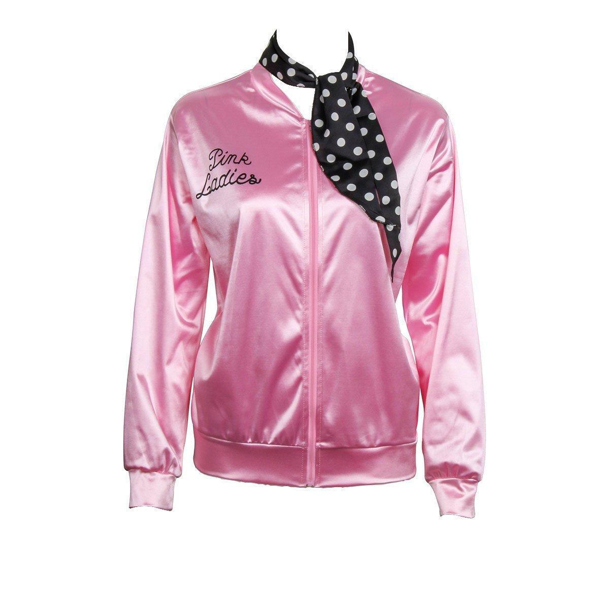 Women/'s Girls Teen Pink Ladies Jacket 1950/'s Grease Fancy Dress Costume Hen 2019