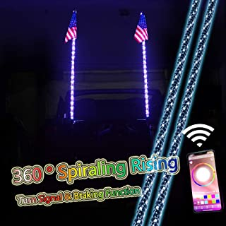 ZGAUTO 5FT 360 ° Spiraling Rising LED Whip Light Bluetooth Controlled with Music Mode &Turn Signal & Braking Function for Offroad Jeep Polaris RZR UTV ATV Sand Dune Buggy Quad Truck Boat(1 pair)