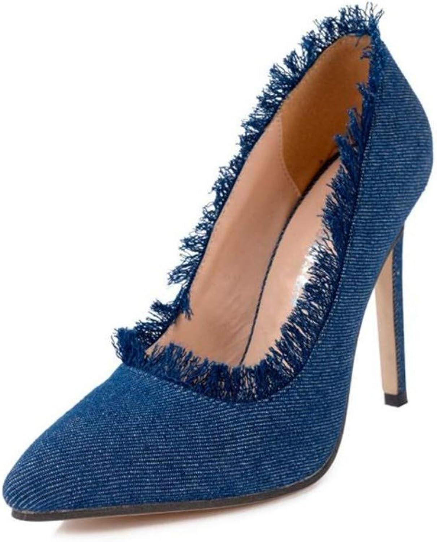 JQfashion Women's High Heel Pointed Stiletto Denim Shallow Mouth Tassel Ol
