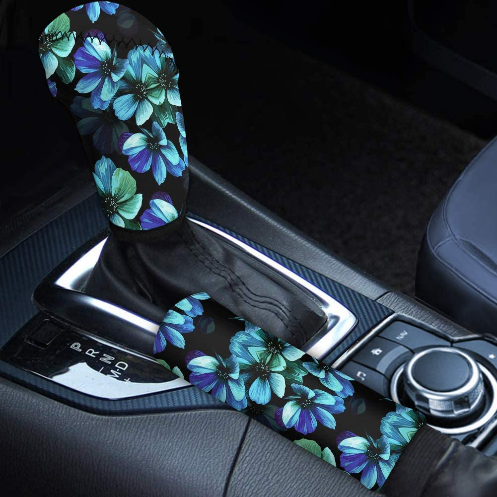 WELLFLYHOM Aqua Flower Handbrake Cover Gear Shift Cover Set 2 Pcs Hawaiian Floral Hand Brake Sleeve Handle Protector Cover Case Women Car Interior Accessories