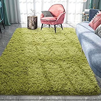 Pacapet Fluffy Area Rugs Green Shag Rug for Bedroom Plush Furry Rugs for Living Room Fuzzy Carpet for Kid s Room Nursery Home Decor 4 x 5.9 Feet