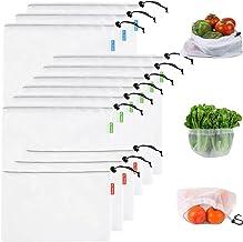 Stone TH Bolsas Reutilizables, 12pcs Lavable Bolsas Reutilizables Compra Ecologicas para Verduras, Fruta, Juguetes (3*S+6*M+3*L)