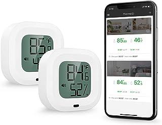 ORIA 2-pack trådlös termometer hygrometer, [uppgraderad 35 m räckvidd] Mini Bluetooth 5.0 fuktighetstemperatursensor med d...