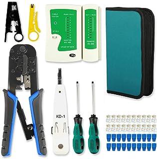 RJ45 Crimp Tool Kit Cat5 Cat5e Crimping Tool,RJ-11, 6P/RJ-12, 8P/RJ-45 crimp tool,Cut and Strip...