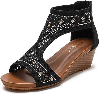 ZAPZEAL Sandales Femmes Compensées Cuir Été Bohême Bout Ouvert Décontractée Chaussures Fermeture Eclair Plateforme Confort...