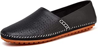 Leisure Driving Loafers for Men Casual Flat Penny Shoes Slip-on Soft Genuine Leather Stitch Round Toe Perforated Non-Slip Lightweight` Khouses (Color : Black, Size : 50 EU)