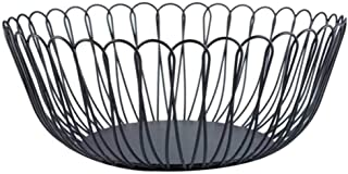Fruit Dish Basket, Large Black Metal Round Wire Fruit Vegetable Bread Bowl Stylish Candy Storage Holder for Kitchen Countertop Pantry, Office Table (Petals)
