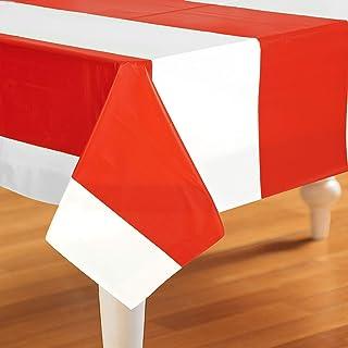 غطاء طاولة مستطيل الشكل من البلاستيك الأحمر والأبيض من بيستل للاستخدام مرة واحدة بتصميم السيرك ولوازم حفلات النزهات وأعياد...
