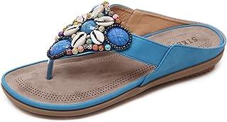 CCZZ Teenslippers voor dames, flipflops, strass, sierparels, bohemian, zomersandalen, comfortabele platte sandalen, T-stra...