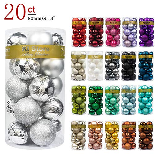 "KI Store 20ct Christmas Ball Ornaments Shatterproof Christmas Decorations Large Tree Balls for Holiday Wedding Party Decoration, Tree Ornaments Hooks Included 3.15"" (80mm Silver)"