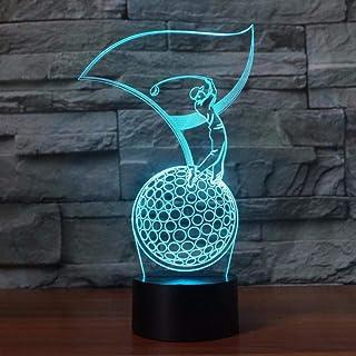 Modelo de golf 3D Lámpara de mesa LED Dormitorio LED Visión Noche Luz USB 7 Cambio de color Sueño del bebé Iluminación Amantes del golf Regalos