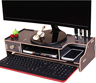 High Quality Monitor Wooden Stand Computer Desk Organizer with Keyboard Mouse Storage Slots (Color : Black)