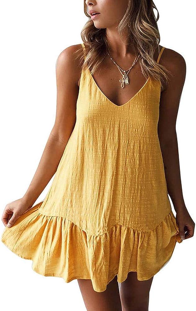 ECHOINE Womens Casual Summer Beach Dress - Boho Floral Print Swing Spagehetti Strap Cami Mini Short Shift Dress Sundress