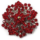'Victorian 'flores broche (Plata & Rojo Claro)