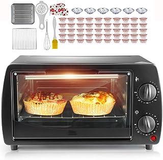 AFDK Mini horno de 9L de doble capa, mini horno eléctrico, convección rotativa, parrilla eléctrica con mango aislado y diseño de disipación de calor, utilizado para preparar pizza, pasteles y pan, ro