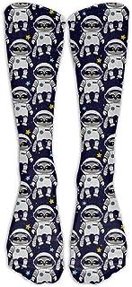 N / A, Mapache Astronauta Space Crew Sock Crazy Socks Tube Calcetines altos Novedad Divertida Luz delgada para adolescentes Niños Niñas 50 cm / 19.7 pulgadas