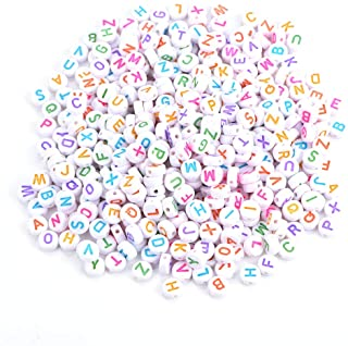 500Pcs Letter Beads Alphabet Beads Colors Acrylic Letter Beads A-Z Round Alphabet Beads for DIY Bracelet Necklace
