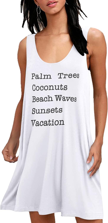 Hotouch Women Summer Casual V Neck T Shirt Dresses Beach Cover Up Tank Dress