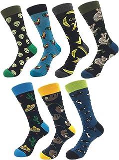 7 pares calcetines estampados hombre mujer, Calcetines divertidos de algodon, Calcetines de colores de moda