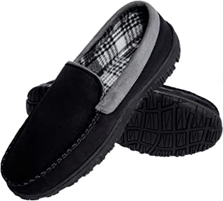 festooning Men's Micro Suede Moccasin Slippers Memory Foam House Shoes Indoor Outdoor (12 M US, Black Gray)