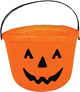 "One Orange Plastic Pumpkin Jack O Lantern Design Trick Or Treat Bucket - 6"""