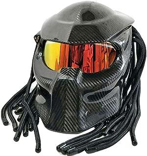 Predator Carbon Fiber Motorcycle Helmet with Personality Hair Braid and LED Light Red Eyes Skull Monster Style Full Face Jagged Warrior Racing Motorbike Helmet (55-64cm) L