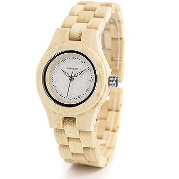 BOBO BIRD女性の女の子木製の腕時計ダイヤモンドダイヤルクォーツ時計ギフトボックス (ベージュ)
