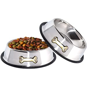 Stainless Steel Dog Bowls with Anti-Skid Rubber Base