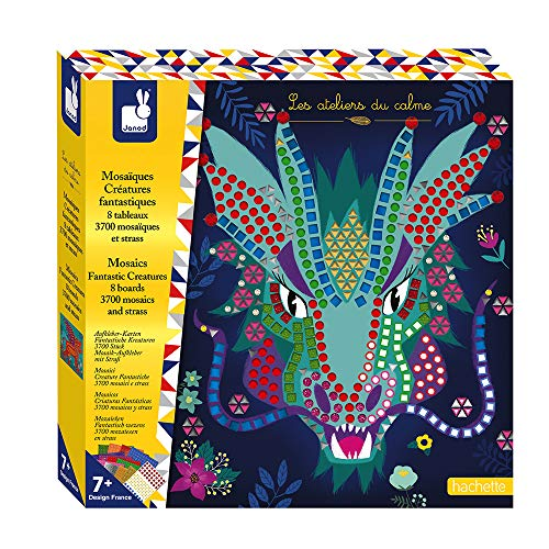 Janod Crafts – No Mess No Glue Foam Fantastic Creatures Sticker Mosaic Animals Kit – Creative, Imaginative, Inventive, and Developmental Play -- STEAM Approach to Learning – Ages 7+