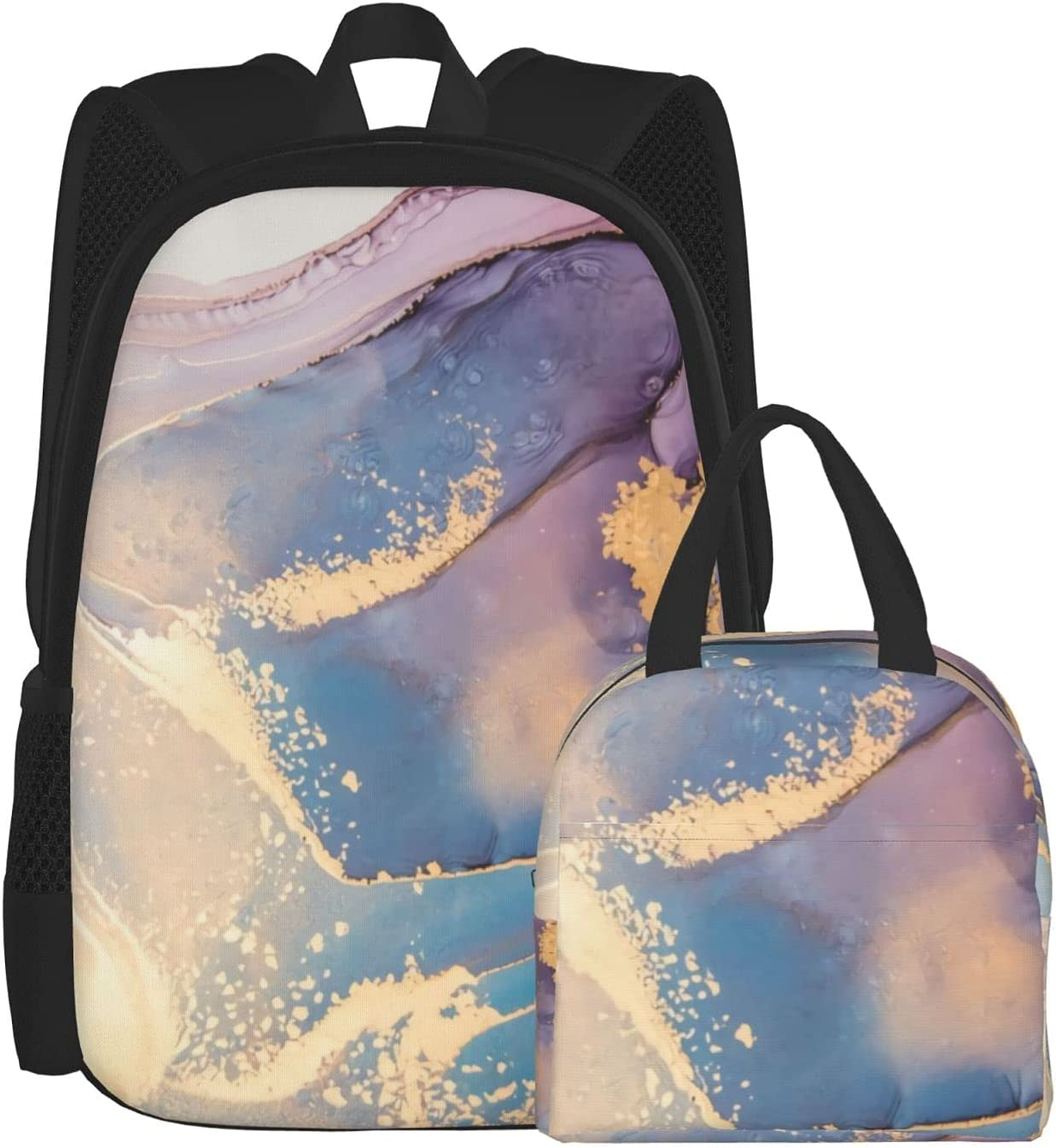 Backpack Lunch Bag Brand new Sets for Max 53% OFF Boys and Marble Purple Girls Blue