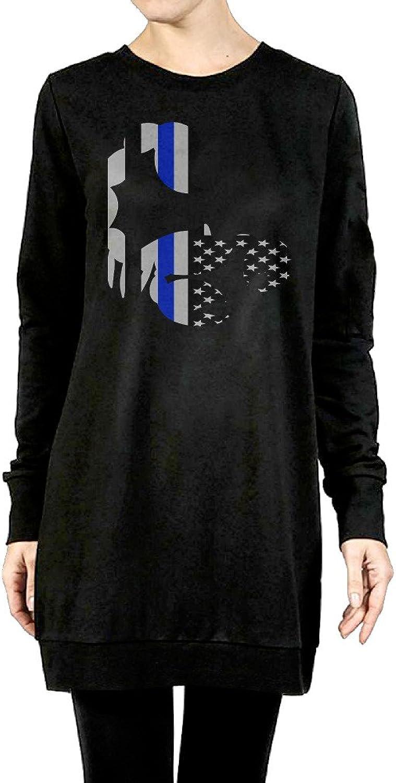 bluee Line American Scorpions Flag Women's Long Hooded Sweatshirt Black