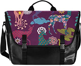 Paper Cut Art Deer Canvas Bolsa de cartero unisex de 15,6 pulgadas, estilo retro, para negocios, bolso de hombro, bolso de...